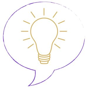 problem solving power hour purple speech bubble with glowing, gold light bulb inside