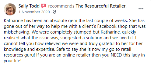 five star Facebook review from Sally Todd saying how to set up a facebook and instagram shop made easy by the resourceful retailer's help